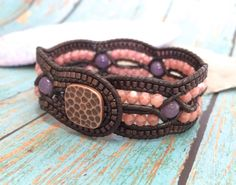Beaded Leather Cuff, Unique 4 Row Cuff, Coral and Purple, Copper, Criss Cross Leather Bracelet, Boho, Artisan, Handmade, Leather Bracelet by SunsetSouthPaw on Etsy