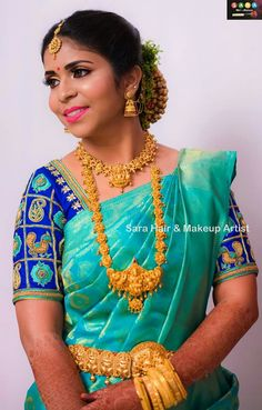 Blue saree with Royal Blue Blouse Wedding Saree Blouse Designs, Pattu Saree Blouse Designs, Blouse Designs Silk, Designer Blouse Patterns, Blue Saree, Clothes For Women, Wedding Bride, Saree Wedding, Indian Blouse