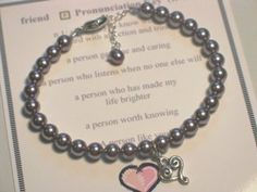 Pearls of Wisdom Friend Bracelet Abernook. $45.00. Meaning Card and Gift Boxed. Swarovski Pearls. Sterling Silver Heart Charm. What a great gift idea to send to a special friend for the holidays, birthdays or any time of year.