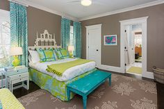 Colordrunk Design - girl's rooms - Paradise Garden Turquoise on Pistachio, Montecito Turquoise on Tint, taupe and turquoise room, taupe wall...