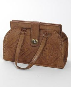 That Indie Look Vintage 1970's Tooled Small Leather Handbag