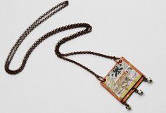 Mixed Media Pendant Green Bead Necklace Beaded by LittleBitsOFaith