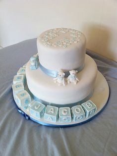 Twin boys christening cake by Paula's Crafty Cakes, via Flickr