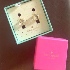 Kate Spade drop crystal earrings Kate Spade earrings for sale! Worn once! 14k gold fill with clear crystal gemstones. kate spade Jewelry Earrings