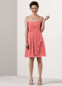Short Crinkle Chiffon Dress with Front Cascade - David's Bridal (CORAL REEF) $139