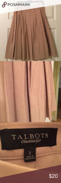 "Talbots Pleated Party Skirt Cotton/Rayon blend. Slight sheen to fabric. Could be worn for Holiday dressy or work. Dry clean only. In new condition. Only worn 2-3 times. This is a ""full"" skirt which hits just below the knee on anyone 5'5 to 5'6. Talbots Skirts A-Line or Full"