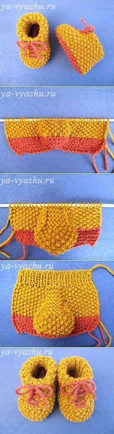 Make Yellow Knit Baby Booties Model at Home – Hülya – Join the world of pin Knitting For Kids, Baby Knitting Patterns, Knitting Designs, Baby Patterns, Knitting Projects, Crochet Projects, Crochet Baby Shoes, Crochet Baby Booties, Crochet Dolls