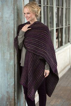 A wonderful go-to piece in every woman's wardrobe, you can count on this ruana to keep you comfy wherever you may go. And even at home you will wrap up in it when you curl up and relax. This amazing stitch pattern drapes perfectly, while being easy to crochet. It's a great gift as it has ageless style and will fit most everyone!
