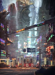 Science-Fiction-Architektur - tacticalneuralimplant: Hometown's crossroad by mrainbowwj - Futuristic Architecture Cyberpunk City, Cyberpunk Kunst, Futuristic City, Futuristic Architecture, Environment Concept Art, Environment Design, Future City, Fantasy World, Fantasy Art