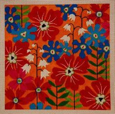 Poppyfield  $108  Amanda Lawford  This is a hand painted needlepoint canvas from the Amanda Lawford collection.  10x10 13 count