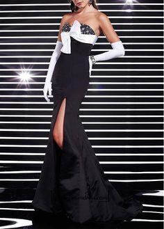 Alluring Satin Mermaid Strapless Sweetheart Beaded Floor Length Beaded Color Block Slit Prom Gown