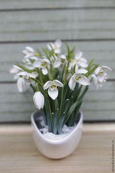 Купить Подснежники - белый, необычный подарок, интерьер, Украшение ручной работы, украшение для интерьера