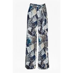 Lala Palm Drape Wide Leg Trousers (185 AUD) ❤ liked on Polyvore featuring pants, high-waisted pants, white high waisted pants, high-waisted wide leg pants, waist belt and high-waisted trousers