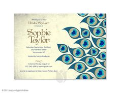 Vintage Peacock Bridal - Bridal Shower Invitation / Personalised You-Print Digital Invitation $23