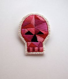 Skull brooch with geometric design embroidered by AnAstridEndeavor, $30.00