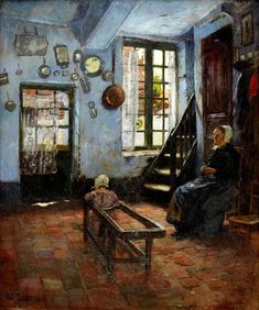THAULOW, Frits Norwegian Impressionist (1847-1906)_Babysitter, Interior with Child and Woman- 1893