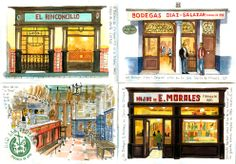 Watercolor drawings of taverns in Seville (Spain) Seville Spain, Travel Illustration, Watercolor Drawing, Times Square, Drawings, Flow, Art, Sevilla, Travel Smash Book