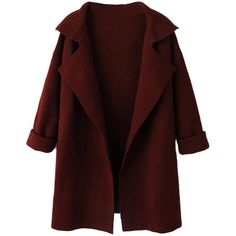 Choies Wine Red Lapel Long Sleeve Knit Coat (€47) ❤ liked on Polyvore featuring outerwear, coats, jackets, coats & jackets, brown, long sleeve coat, lapel coats, knit coat, brown coat and red coat