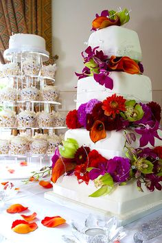 Diva Cakes and Red Floral unique wedding cake 3 - Colors would fit nicely with a tropical destination wedding!
