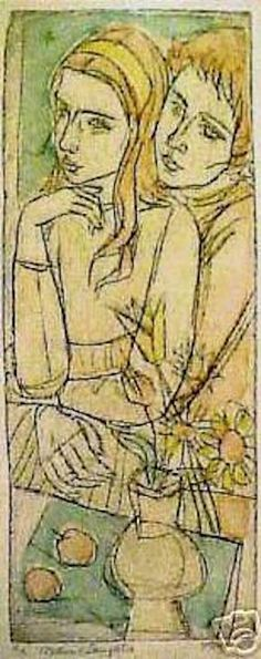 'mother & daughter' etching by irving amen