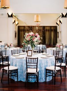 Light blue and white lace linens accented with an array of pink and white flower centerpieces: http://www.stylemepretty.com/louisiana-weddings/new-orleans/2016/09/06/vintage-style-new-orleans-wedding/ Photography: Greer Gattuso - http://www.greergphotography.com/
