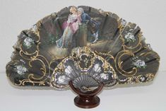 AB106 ANTIQUE FAN. CARVED WOOD STICKS. HAND PAINTED TULLE. 19th CENTURY | eBay