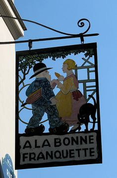 "18th arrondissement - cafe sign ""A La Bonne Franquette"", rue Saint Rustique, Montmartre."