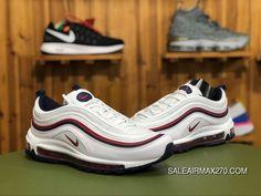 timeless design 68a8b 500c4 Nike Air Max 97 Red Crush 921733 102 Unisex Air Cushion Running Shoes White Blackened  Blue-Red Crush