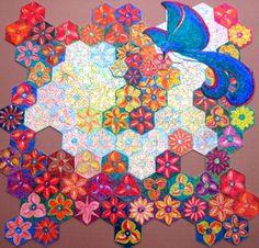 """Puzzle """"O Vôo do Beija-Flor"""" - Posição possível do beija-flor sobre as flores V - Por Antônia Sobral"""