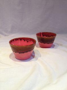 Duo bols céramique faïence émail rose et cognac : Vaisselle, verres par tiboudflam