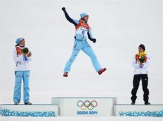 ilver medalist Magnus Hovdal Moan of Norway, gold medalist Joergen Graabak of Norway and bronze medalist Fabian Riessle of Germany celebrate on the podium during the flower ceremony for the Men's Nordic Combined on day 12 of the Sochi 2014 Winter Olympics at RusSki Gorki Nordic Combined Skiing Stadium | Sochi 2014 Winter Olympics