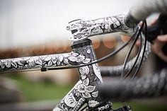 This new road bike by the UK's Spoon Customs must surely be one of the year's most eye-catching bikes, with over 30 hours of handprinted artwork by Sam Dunn illustration, Ciamillo brakes, Campagnolo Srl Record and wheels by August Wheelworks. Explode your eyeballs at Cycle EXIF today: