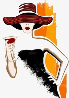 Pretty woman with large hat having cocktail - vector illustration Fabric Painting, Painting & Drawing, Cocktails Vector, Wine Art, Silhouette Art, Painting Inspiration, Female Art, Pretty Woman, Watercolor Art