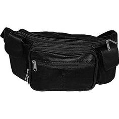 6618cb61fb51 Amazon.com   Large Black Genuine Lambskin Leather Fanny Pack Waist Bag with  Cell Phone Pouch   Hiking Fanny Packs   Sports   Outdoors