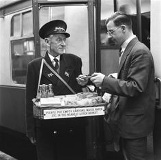 This man is selling sweets, fruit and drinks. These workers were employed in large stations so that passengers would not have a long walk if they needed to buy food. Those people wanting a larger. Get premium, high resolution news photos at Getty Images Old Pictures, Old Photos, Vintage Photos, London History, British History, Vintage London, Old London, Diesel, London Underground