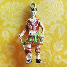 Vintage enamel SCOT SCOTLAND MAN ~ TRADITIONAL GARB sterling silver travel charm $32
