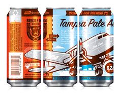 Brindle Dog Brewing: postcard inspired cans. Interesting how they tell a story with the front of the cans.