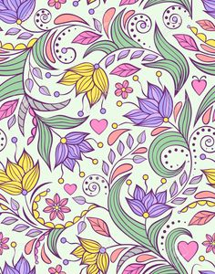 Vector Illustration Of Seamless Pattern With Abstract Flowers.. Royalty Free Cliparts, Vectors, And Stock Illustration. Image 24019550.