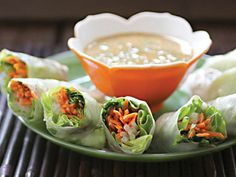 """Asian Spring Rolls with Spicy Peanut Dipping Sauce"" from Cookstr.com #cookstr"