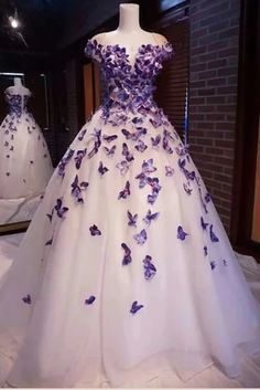 tulle prom dress ,wedding prom dress,butterfly prom dress - Source by aliannagonzales - Cute Prom Dresses, Cheap Evening Dresses, Tulle Prom Dress, Beautiful Prom Dresses, Cheap Dresses, Pretty Dresses, Dress Wedding, Violet Prom Dresses, Purple Evening Dress