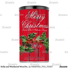 Holly and Weathered Wood Personalize Powdered Drink Mix