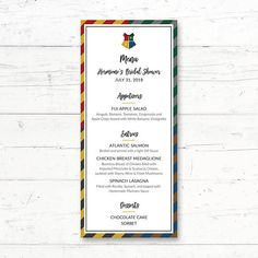 Harry Potter Hogwarts Houses Printable Menu Card Wedding Bridal Shower Baby Shower By CrissyDesignCo Harry Potter Baby Shower, Harry Potter Wedding, Harry Potter Birthday, Bridal Bingo, Bridal Shower Games, Baby Animal Games, Who Knows Mommy Best, Printable Menu, Baby Bingo