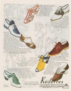 Kedettes women's shoes ad, 1938  I love the green and white pair with gillies.