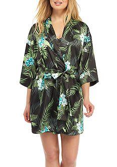 Jones New York Short Tropical Satin Robe
