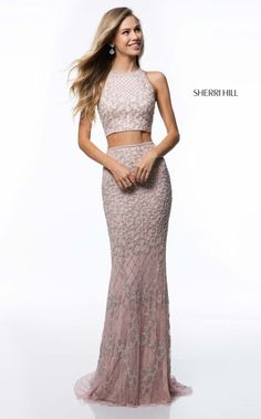 Sherri Hill Spring 2018 Collection Light Pink Fitted 2 Piece with delicate  beading Ypsilon Dresses Utah Prom Pageant Evening Wear Store Sweethearts ... 8a14b7449cbe