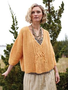 Auberon pattern by Norah Gaughan. Interesting neckline cable