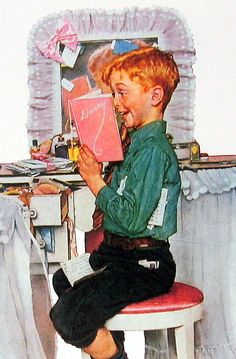 Boy Reading Sister's Diary, a Norman Rockwell painting, appeared on the cover of The Saturday Evening Post published March Norman Rockwell Prints, Norman Rockwell Paintings, Vintage Posters, Vintage Art, Munier, Caricatures, American Artists, Vintage Children, Belle Photo
