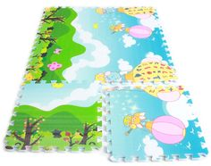 Double-side Waterproof Baby Puzzle Mat Soft Environment-friendly Toddler Play Mat 45*45*1.5cm 6pcs/lot (Balloon)