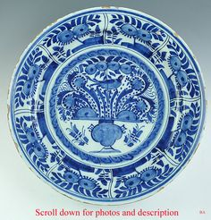 c1775 DUTCH DELFT FAIENCE BLUE & WHITE FLORAL PLATE picclick.com