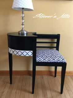 Refinished Telephone Bench Gossip Bench. Ink & White Chalk Paint Waverly Fabric Modern style stencil